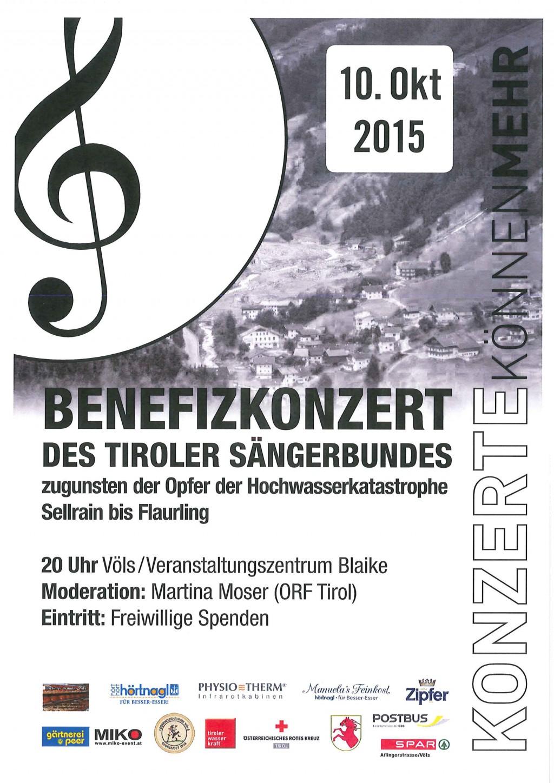 Der Tiroler Sängerbund veranstaltet am 10. Oktober in der Völser Blaike ab 20:00 Uhr ein Benefizkonzert zu Gunsten der Hochwasseropfer Sellrain bis Flaurling. Die Lederhosenrunde Völs übernimmt bei dieser Veranstaltung…