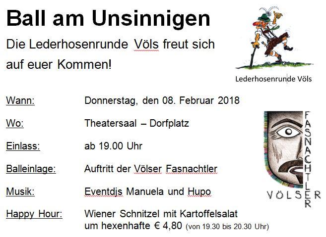 Im Theatersaal findet am unsinnigen Donnerstag (8. Februar 2018) der Maskenball der Lederhosenrunde Völs statt. Wir freuen uns auf viele Besucher.…